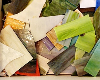 Stained Glass Scraps, Earth Tones, Assorted Colors, Textures, Clear and Solids, 14 lb box