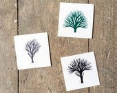 RESERVED for Chris - Tiny Tree Portraits 4 and 5 - Original Contemporary Art Watercolour Paintings - by Natasha Newton