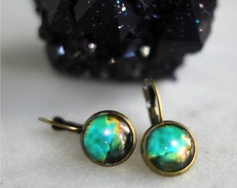 Galaxy Earrings, Teal, Aqua Blue, Celestial Dangles, Under 10