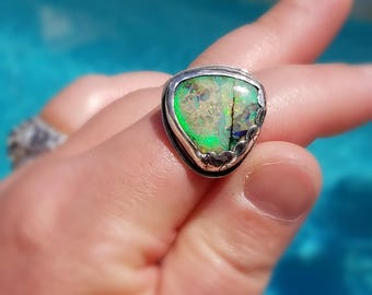Monarch Opal Ring in Sterling Silver Asymmetrical Stamped, Scalloped Bezel
