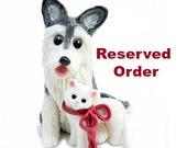 Reserved for Lindsey Cavalier King Charles Spaniel Ruby Christmas Ornament Figurine Porcelain