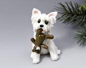 Westie West Highland White Terrier Christmas Ornament Figurine Teddy Bear Porcelain