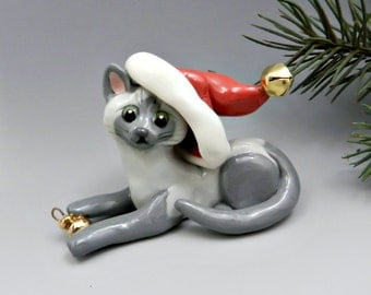 Burmese Siamese Cat Christmas Ornament Figurine Santa Hat Porcelain