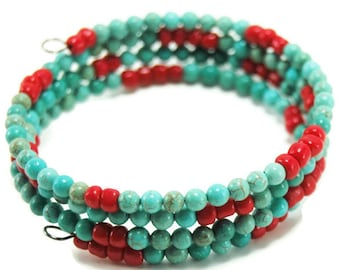Turquoise memory wire wrap bracelet - turquoise beads - memory wire bracelet - boho beaded bracelet - gifts for her - Mothers Day gift