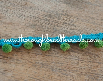 3 yards Multi Colored -  Mod Vintage Pom Poms Ball Fringe 60s 70s New Old Stock Turquoise Green