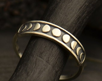 Etched Moon Phases Ring - Solid 925 Sterling Silver - Insurance Included