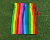 Small rainbow stripes drawstring bag, bright colours small cotton gift bag, toy bag