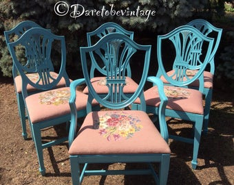 Six Vintage Shield Back Turquoise Dining Chairs - Vintage Needlepoint Chairs - Shabby Chic Dining Chairs - Turquoise Chairs - Vintage Chairs