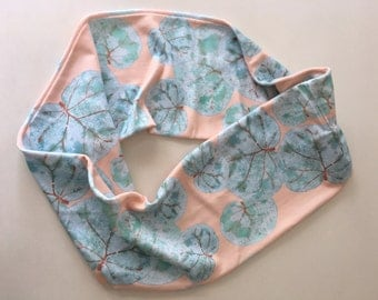 Organic cotton infinity scarf tropical leaves seagrape leaves