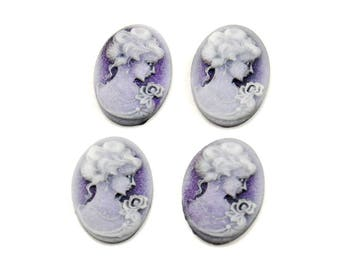 18x13mm Cameos in Shimmering Purple - 4 Pieces - Resin Female Portrait Cameos