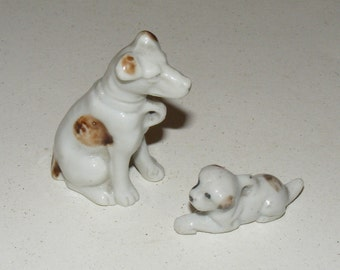 Vintage Bisque Terrier Dog and Puppy Figurine Lot of 2 Japan