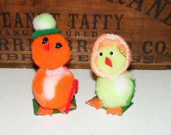 Vintage Retro Colorful Pom Pom Easter Chick Bird Lot of 2
