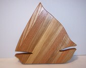 Sailboat Cutting Board Handcrafted from Mixed Hardwoods