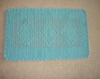 Vintage handmade cotton crochet rug, cotton yarn rug, blue cotton rug, cotton bath mat, door mat