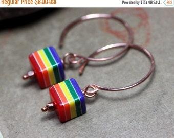 Sale Rainbow Stripe Earrings Copper Hoop Earrings