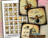 ON SALE Queen Bee, Collage Sheet, Bee Collage Sheet, Digital Collage, Printable, 1x1 Collage Sheet, Digital Squares, 1x1 Squares, Printable