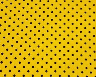 Knit 1 yard yellow with black dots