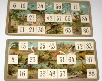 2 Beautiful Rare Victorian Lithographed Lotto Cards w/ Bird Backgrounds