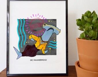 MC Hammerhead Fine Art Print - home decor, wall decor