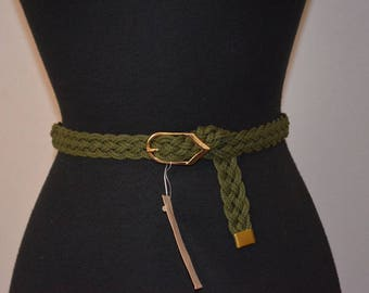 90s Skinny cord belt. Military Green.  Old Stock Sample by Elegant. 31 inches or less. Deadstock. Moss Green. Braided Belt.