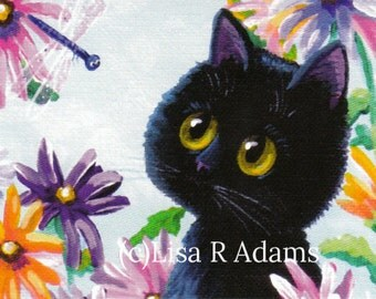 Black Cat Dragonfly  Cards from Original Painting Creationarts Free Shipping