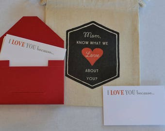 Love Cards with Fabric Gift Bag for Mother's Day