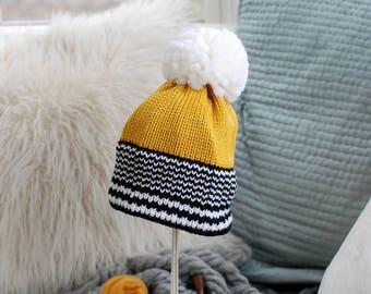 Striped Brim Fair Isle Ski Hat