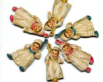 Vintage Victorian Baby Ornaments Reproduction Die Cut Cardboard Hang Tags Baby Shower Decorations Pink Blue Yellow Stork Bundle