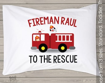 Fireman with fire truck personalized pillowcase / pillow PIL-070