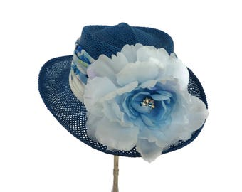 "Women's Golf Hat, Straw Sun Hat, Summer Hat, Race Day Hat, Gambler style Golf Hat - ""Kiawah Island Blue"""