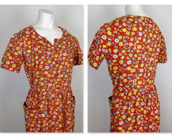 Vintage Cotton House Dress, Mid Century Garden Chic, Sz XL