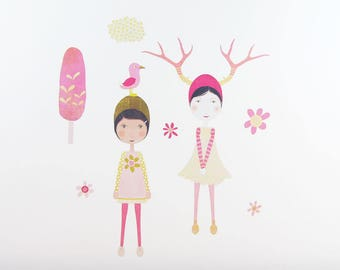 Olive & Emmeline wall decal – medium | yellow and pink wall decal | whimsical girls nursery decor