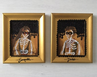Pair Vintage Overpainted Gypsy Child Portraits 1970s Glitter Skeleton