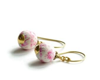 Liberty earrings,Cute earrings,Pastel earrings,Pink earrings,Summer earrings, Flower earrings,Liberty jewelry,Summer jewelry,Bride earrings