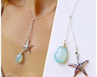 Starfish necklace, sea star charm, sterling silver lariat, Y necklace, aqua bridal jewelry, bridesmaid gift, destination wedding, beach