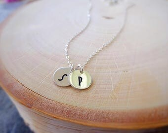 Dainty initial necklace, small letter tags, circle discs, layering necklace, minimal, custom hand stamped, personalized jewelry, mom mothers