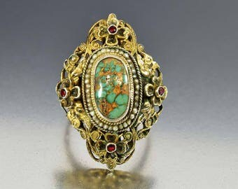 Antique Turquoise Ring, Austro Hungarian Garnet Ring, Sterling Silver Gold Vermeil Cocktail Statement Ring, Victorian Pearl Ring