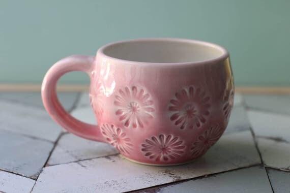 pink mug, porcelain
