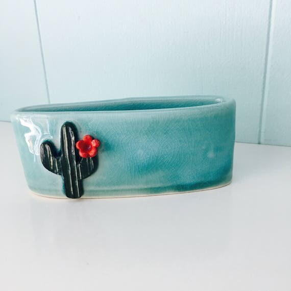 cactus business card holder, porcelain