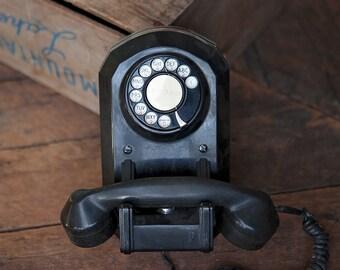 Vintage Black Rotary Dial Wall Phone Landline