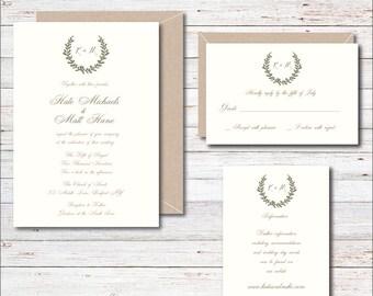 Wedding Invitations, Romantic Invitation, Invitation Suite, Chic Invitations, Calligraphy, Summer Wedding, Garden Invitations, Wreath, Fall