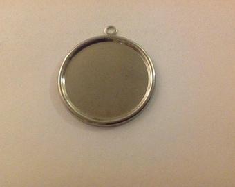 "QTY 25 - DIY Pendant Trays 25mm 1"" Bezel Cabochon - Silver Plated"