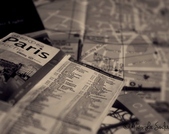 Black & white graphic photo of Paris travel maps perfect to make a statement on any wall