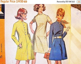 on SALE 25% OFF 1960s Dress Pattern Misses size 12 UNCUT Princess Seam A line Coat Pattern with A line Dress Vintage Sewing Pattern 60s