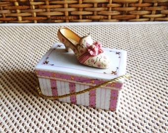 "Vintage Music Box..""Ballroom Baroness"" Shoe Collection Music Box..Porcelain Music Box..Music Playing ""Some Enchanted Evening""..Trinket Box"