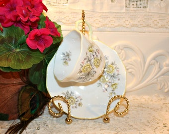 Vintage Rosina English Fine Bone China Soy Wax Demitasse Candle, Yellow Roses,Espresso Cup,Gift Set, Collectible,Homemade, YOUR SCENT CHOICE