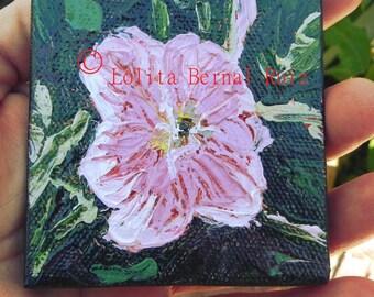 pink flower painting, garden flower, original flower art, small artwork, dark pink and dark green, poppy, 3 inch square,  MP117