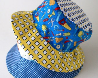 Kids Bucket sun hat for toddlers, Photo Prop, Beach Wear, Blue with Cars