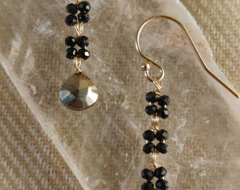 black spinel and pyrite earrings