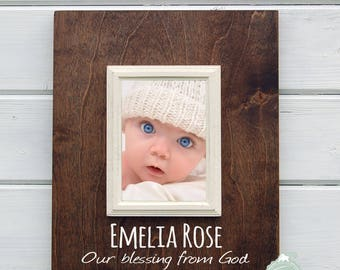 Personalized Baby Shower Gift, Newborn Frame, New Baby Frame, Nursery Decor, personalized picture frame by Rusty Cricket